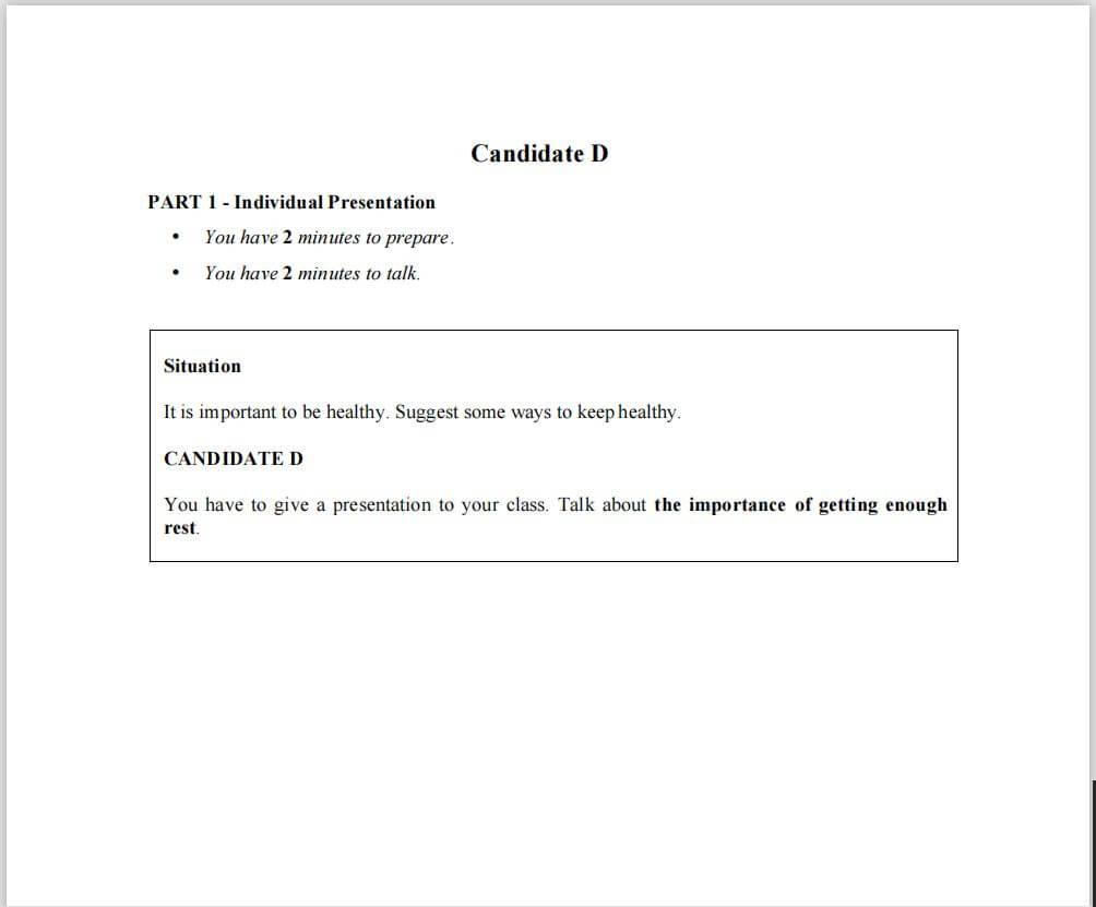 Contoh Soalan MUET Speaking Part 1 Candidate D
